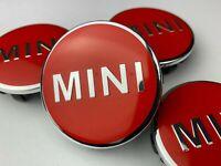 4 x MINI RED ALLOY WHEEL CENTRE HUB CAPS BADGES EMBLEM 56MM COOPER ONE S JCW*