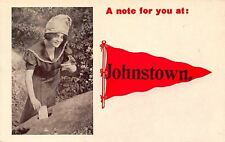 Johnston Pennsylvania~Cute Girl Hides Note For You In Rock~Red Pennant 1912