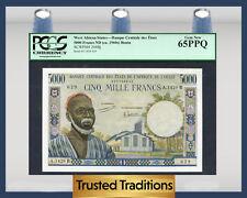 TT PK 204Bj 1960s WEST AFRICAN STATES 5000 FRANCS PCGS 65 PPQ GEM NEW!