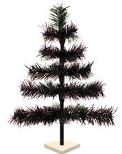 18' Black Christmas Tree Tinsel Feather Style Holiday Tree 1.5Ft Table-Top