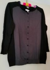 LADIES NEW H&M LONG SLEEVE CARDIGAN BLACK & GREY SIZE L ROCKABILLY RETRO