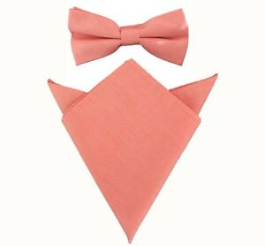 Mens Orange Pre-tied Bow tie and Matching Pocket Square Set 100% Cotton