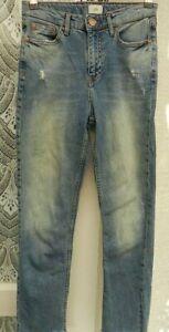 "( Ref 4681 ) River Island Size 6 W 26"" - Blue Slim Leg Cropped Denim Jeans"