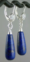 "Lapis Lazuli Leverback Earrings Solid Sterling Silver CZ Dangle 1.75"" Long 6.5g"