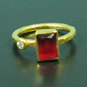Handmade Hammered Band  Octagon Ruby Ring W/Topaz 22K Gold over Sterling Silver