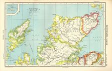 1952 CARTE ~ ÉCOSSE NORD ~ LEWIS ROSS & CROMARTY SUTHERLAND CAITHNESS