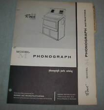 ROWE AMI MODEL M PHONOGRAPH PARTS CATALOG