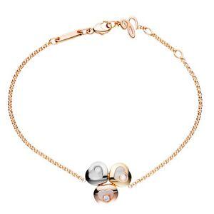 Chopard Happy Curves Rose White & Yellow Gold Hearts Diamond Bracelet 859390 New