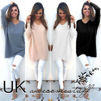 UK Womens Long Sleeve Pullover Sweater Ladies  Dress Tops Size 6-14