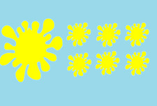 7 Stück Farbklecks Aufkleber In Gelb Sticker neu Cool 0401