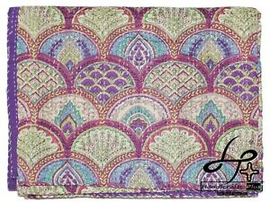 Kantha Quilt Indian Cotton Rainbow Throw King Size Bedding Ralli Purple Gudari