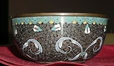 Vintage Finely Detailed Chinese Cloisonne Bowl With Bottom Blossom