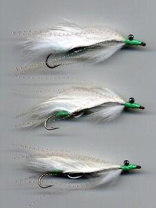 Trout Flies: MINI White Viva Marauders: Snake Flies x3  size8 (code 651) UK Tied