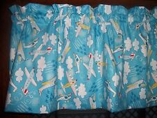 Airplane Helicopter Clouds Jets Blue boys nursery fabric topper curtain Valance