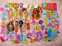 HUGE POLLY POCKET LOT 165 pieces Dolls Clothing Shoes Accessories WOW!