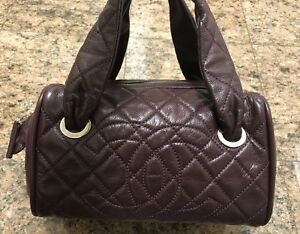 CHANEL CC Burgundy Quilted Caviar Leather Bowler Satchel Bag
