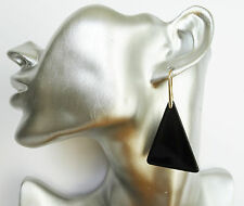 Gorgeous Black Triangle Dangle Earrings 6 cms Drop