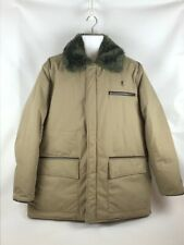 Browning Mens Hunting Jacket Beige Down Filled Collared Lined Zipper Pockets XL