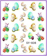 Nail Art Water Decals Stickers Transfers Easter Bunny Rabbit Eggs Chicken (836)