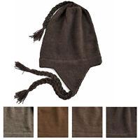 100% Alpaca Wool Chullo Earflap Hat Women Men Accessory One Size ~ Brown
