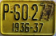RARE Vintage Pre-war 1936-37 Poland Polish Bicycle License Plate (Poznańskie)