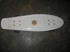 "27"" Skateboard Cruiser Style Plastic Complete Skate Board WHITE RETRO BLUE WHEEL"
