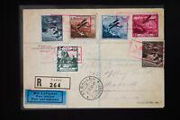 Liechtenstein 6 Stamp Registered Airmail Cover Scarce