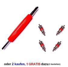 Ventilschrauber + 4x Ventileinsätze Ventilausdreher Gummiventile Reifenventile