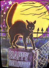 New listing Evergreen Decorative Garden Flag Happy Halloween Black Cat Full Moon Nwt
