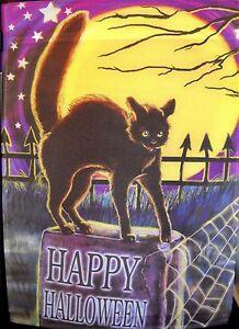 Evergreen Decorative Garden Flag Happy Halloween Black Cat Full Moon  NWT