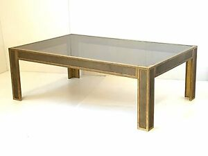 Coffee Table Rectangular Bronze & Glass 1970 Vintage 70'S