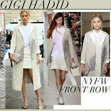 TORY BURCH Ange Feather Embellished Linen Tweed Coat 2 XS