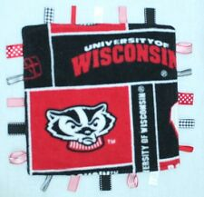 UW Badgers University of Wisconsin Baby Lovey Security Blanket Taggies Red Black