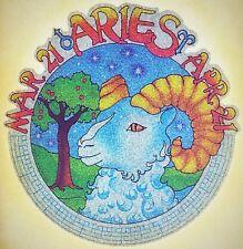 Original Vintage Aries Iron On Transfer Horoscope Full Glitter