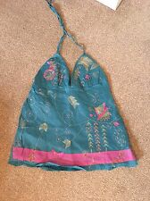 Stunning Teal Haulterneck With Pink/gold Embroidery Sequin Detail BNWOT Size 12