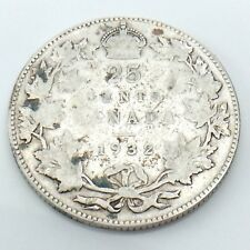 1932 Canada 25 Twenty Five Cents Quarter Silver King George V Canadian Coin G735
