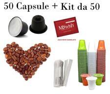 Love Caffè 50 Capsule comp. Nespresso e Kit 50 accessori - Tostatura Lieve Gusto