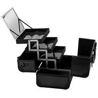 Schminkkoffer Beauty Case schwarz 4 Fächer Spiegel Alu Kosmetik Koffer