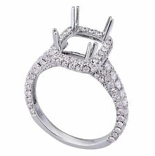 18K White Gold 1.20ct Diamond Ring Setting with Square Halo (Sizable)