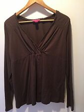 Comfortable Liz Lange Maternity Top Brown Large Stretch