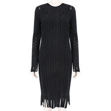Alexander Wang Luxurious Black Latticework Hole Slim-Fitting Dress  L UK12