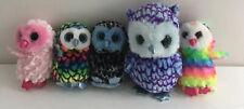 TY Beanies Small Sized Owls Oscar, Aria, Owen, Yago, Twiggy (878J48)