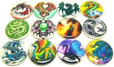 12 DRAGONS Buttons Badges One inch Pinbacks Rainbow Fantasy Tattoo Medieval
