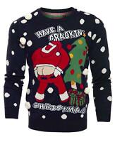 Mens Christmas Jumper Xmas Knitted Santa Crackin Novelty 3D Sweater New S M L XL