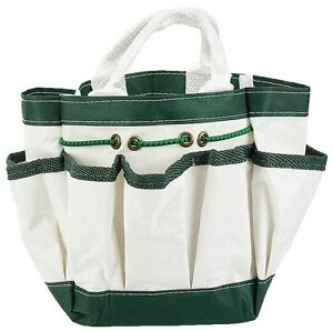 """Canvas Garden Tote with 7 Pockets - White - 9"""" X 6"""""""