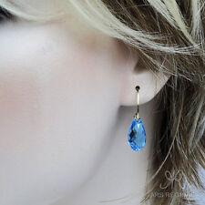 "● EDEL ● Quarz Kristall Tropfen Creolen in ""Topas"" blau ygf 14k Gold 585"