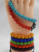 Crystal Shamballa Bracelet 11 Disco Clay Balls 10mm Adjustable, ***Limited offer