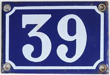 Old blue French house number 39 door gate wall plate plaque enamel steel sign