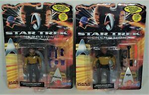 Playmates Star Trek Generations Movie - Action Figures - LaForge & Worf - Sealed