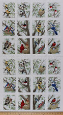 "23.5"" X 44"" Panel Beautiful Birds Bird Birdwatching Cotton Fabric Panel D505.30"